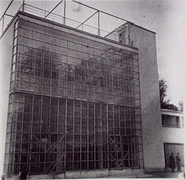 The Narkomfin Building. The stained glass window. A historical photo, interior. Photo courtesy by Ginsburg Architects