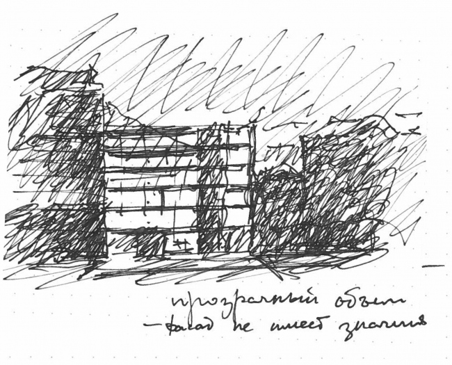 Administrative and business building in the Myasnitsky Drive. The facade along the Sadovo-Spasskaya Street. Sketch by Alexander Skokan © Ostozhenka