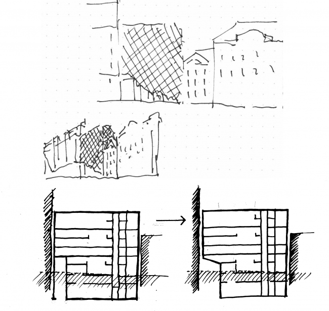 Administrative and business building in the Myasnitsky Drive. Sketches by Alexander Skokan © Ostozhenka