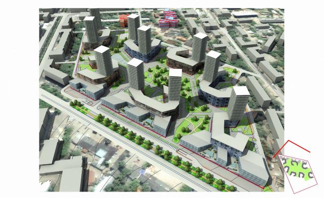 Концепция застройки квартала, г. Пермь, вариант 1 © ABD architects