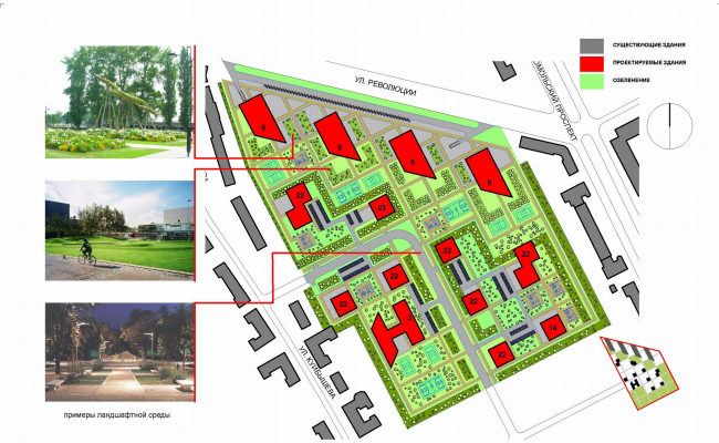 Концепция застройки квартала, г. Пермь, вариант 2 © ABD architects