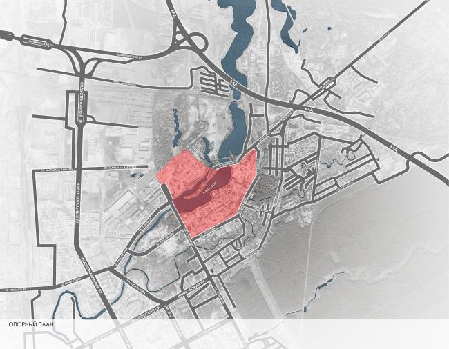 Эскиз застройки территории заводов «Химволокно» и «Пластполимер». Опорный план © SPEECH, Евгений Герасимов и партнеры