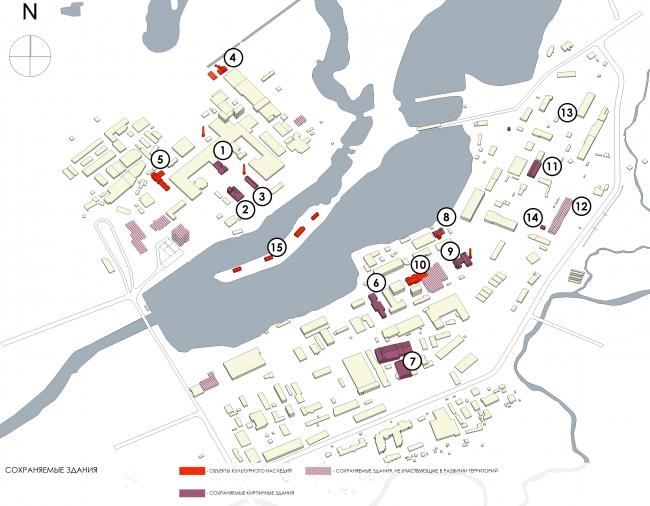 Эскиз застройки территории заводов «Химволокно» и «Пластполимер». Сохраняемые здания