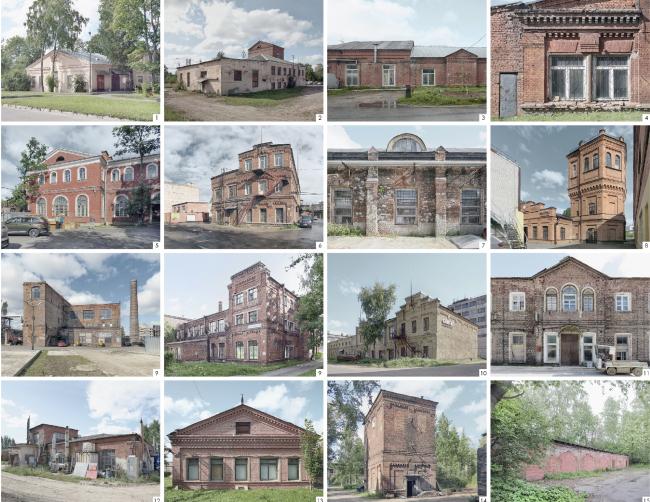 Сохраняемые кирпичные здания. Эскиз застройки территории заводов «Химволокно» и «Пластполимер»
