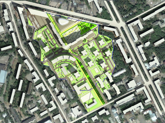 Концепция застройки квартала, г. Пермь, вариант 3 © ABD architects