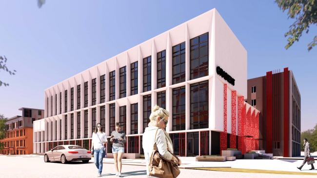 Фасад административного здания корпуса «А» с ул. Медуницинская после реновации © АртСити