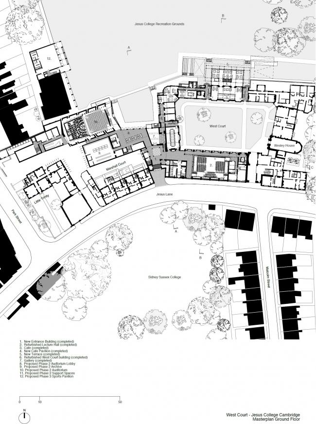 Западный двор колледжа Иисуса © Niall McLaughlin Architects
