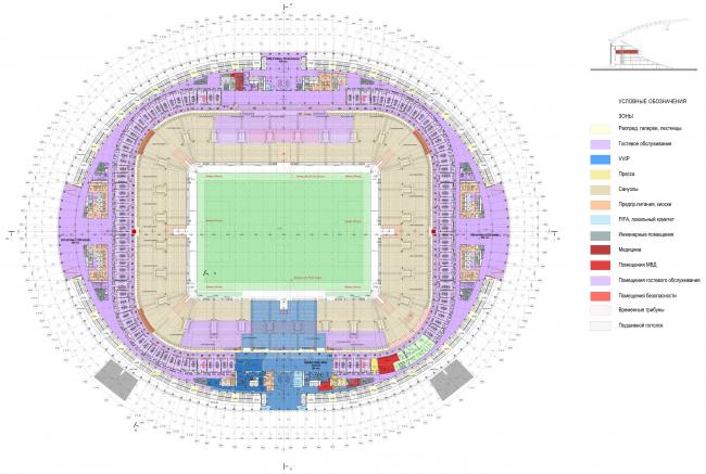 План на отметке +16,800 м, режим FIFA. Большая спортивная арена «Лужники», реконструкция 2015-2018 © SPEECH