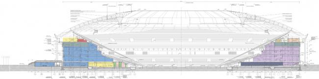 Section view. Luzhniki Stadium, reconstruction 2015-2018. SPEECH. Photograph © Ilia Ivanov