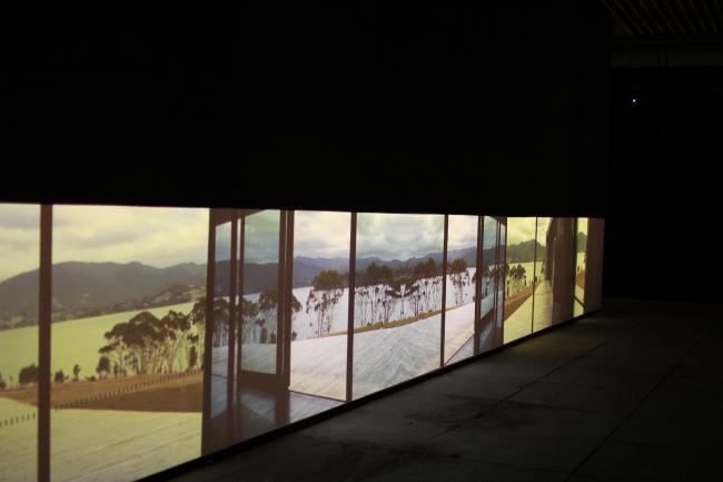 Part of the curators' work in a biennale pavilion: freespace videos. Photograph: Julia Tarabarina, Archi.ru