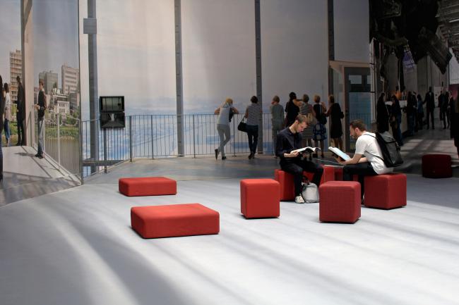 Part of the curators' work in a biennale pavilion: pfl 13 Lacaton & Vassal Architectes. Photograph: Julia Tarabarina, Archi.ru