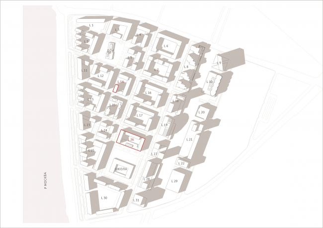 ЗИЛАРТ. 2-я и 3-ая очередь. Квартал 14 и 26. Генплан © предоставлено DNK ag