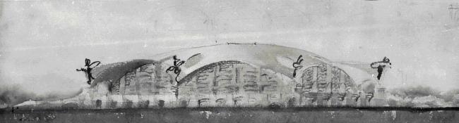 Эскиз крытого рынка в Москве. Студент VI курса Ф. Новиков. 1949 г. / предоставлено Феликсом Новиковым