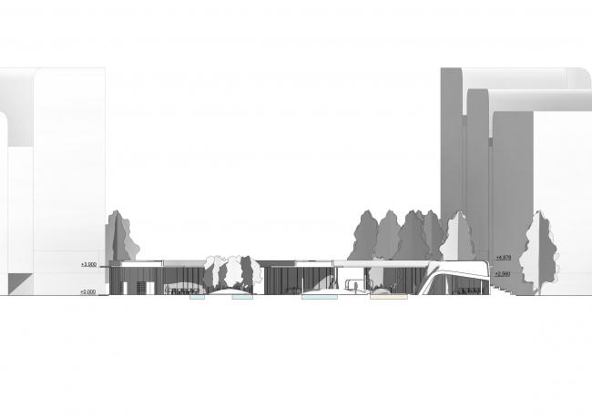 Общественный центр в ЖК «Республика». Разрез © Архиматика