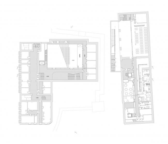Концепция расширения французского лицея А.Дюма в Милютинском переулке. План уровня 0 © SYNCHROTECTURE совместно с Agence d′Architecture A. Bechu et Associés, СЕТЕК Инжиниринг