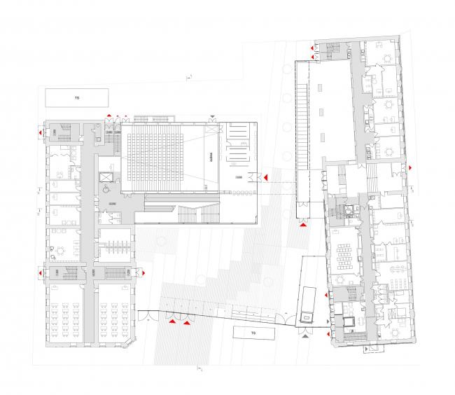 Концепция расширения французского лицея А.Дюма в Милютинском переулке. План уровня 1 © SYNCHROTECTURE совместно с Agence d′Architecture A. Bechu et Associés, СЕТЕК Инжиниринг