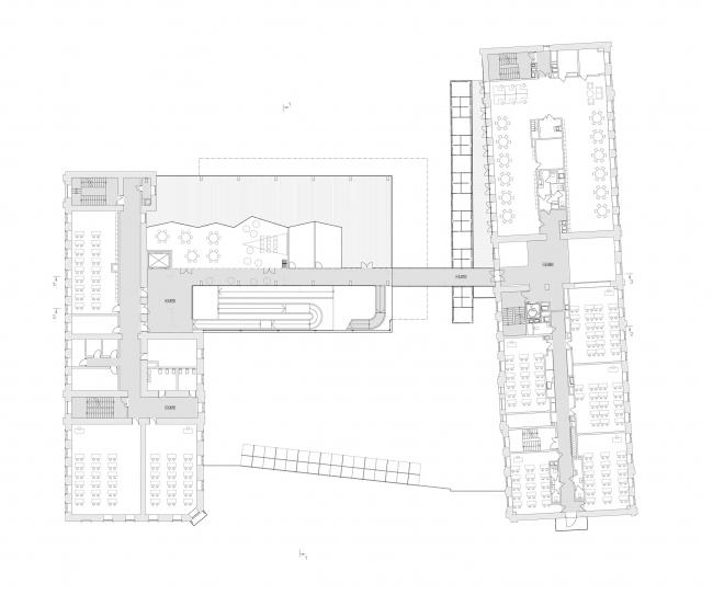 Концепция расширения французского лицея А.Дюма в Милютинском переулке. План уровня 2 © SYNCHROTECTURE совместно с Agence d′Architecture A. Bechu et Associés, СЕТЕК Инжиниринг