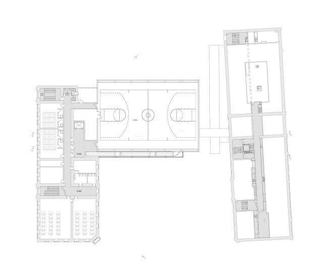 Концепция расширения французского лицея А.Дюма в Милютинском переулке. План уровня 3 © SYNCHROTECTURE совместно с Agence d′Architecture A. Bechu et Associés, СЕТЕК Инжиниринг