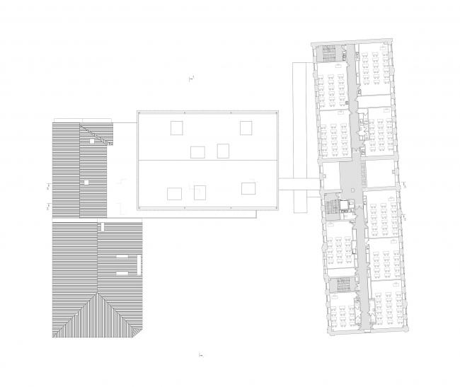 Концепция расширения французского лицея А.Дюма в Милютинском переулке. План уровня 5 © SYNCHROTECTURE совместно с Agence d′Architecture A. Bechu et Associés, СЕТЕК Инжиниринг