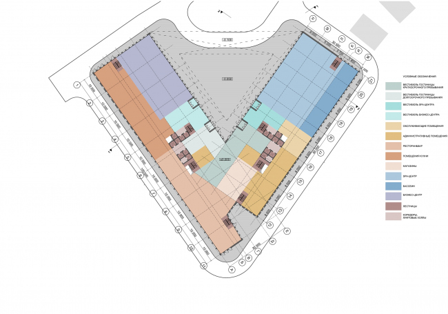 Отель Radisson Blu. План 1 этажа © АБ «А-ГА»