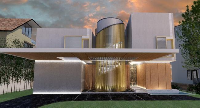 Дом 15 – главный фасад © HCF and Associates, Визуализация: CineRender и Photoshop