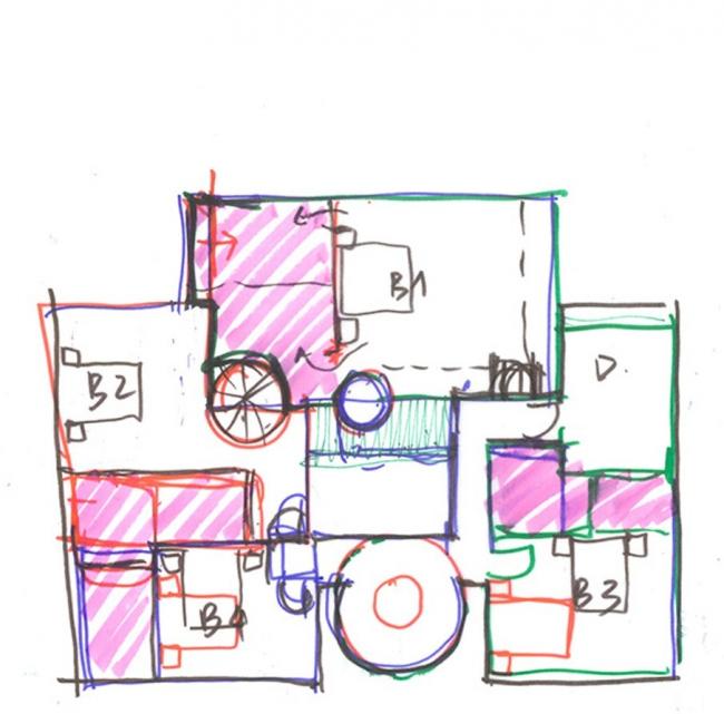 Выполненный вручную эскиз плана этажа © HCF and Associates
