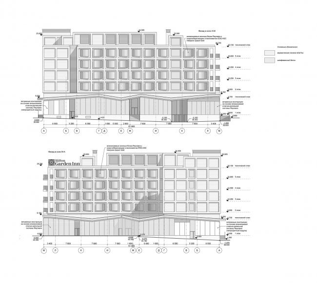 Отель Hilton Garden Inn. Фасад © АБ «А-ГА»