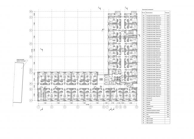 Отель Hilton Garden Inn. План типового этажа © АБ «А-ГА»