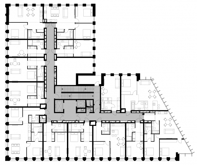 Plan of the standard floor © APEX project bureau