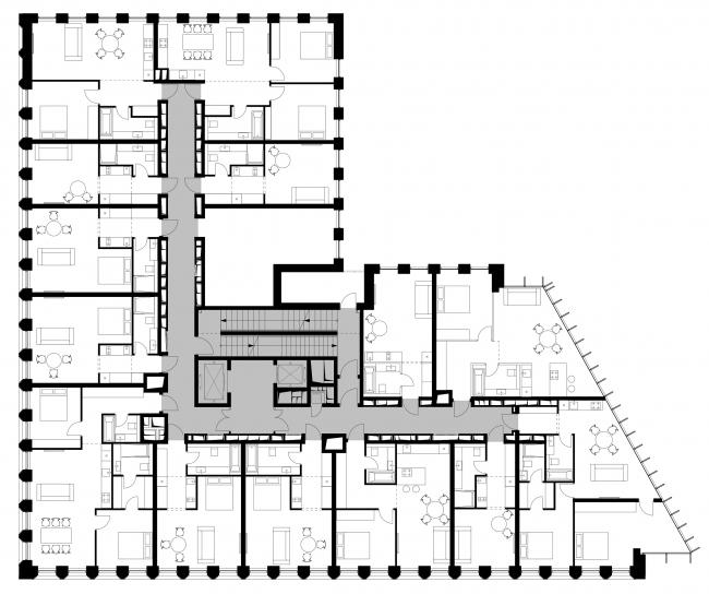Plan of the standard floor © APEX project bureau
