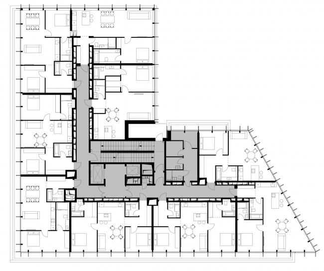 План 9-го этажа © Проектное бюро АПЕКС
