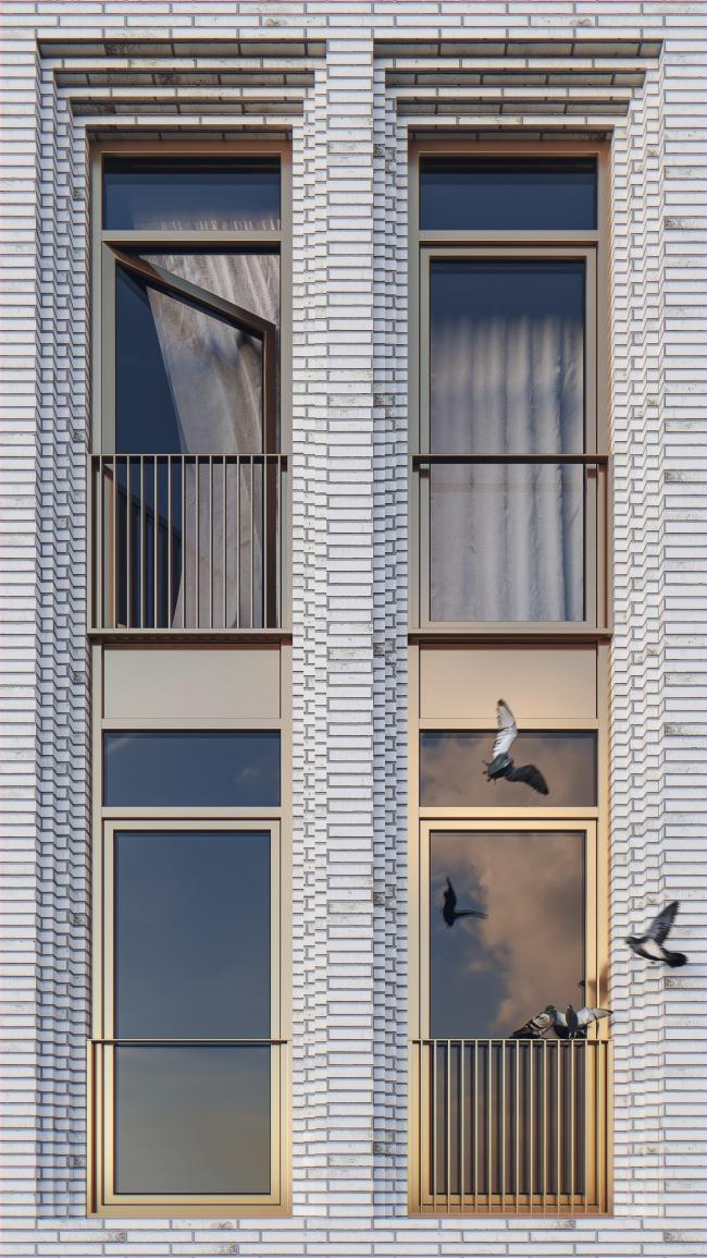 Фрагмент фасада с перспективными порталами © Проектное бюро АПЕКС