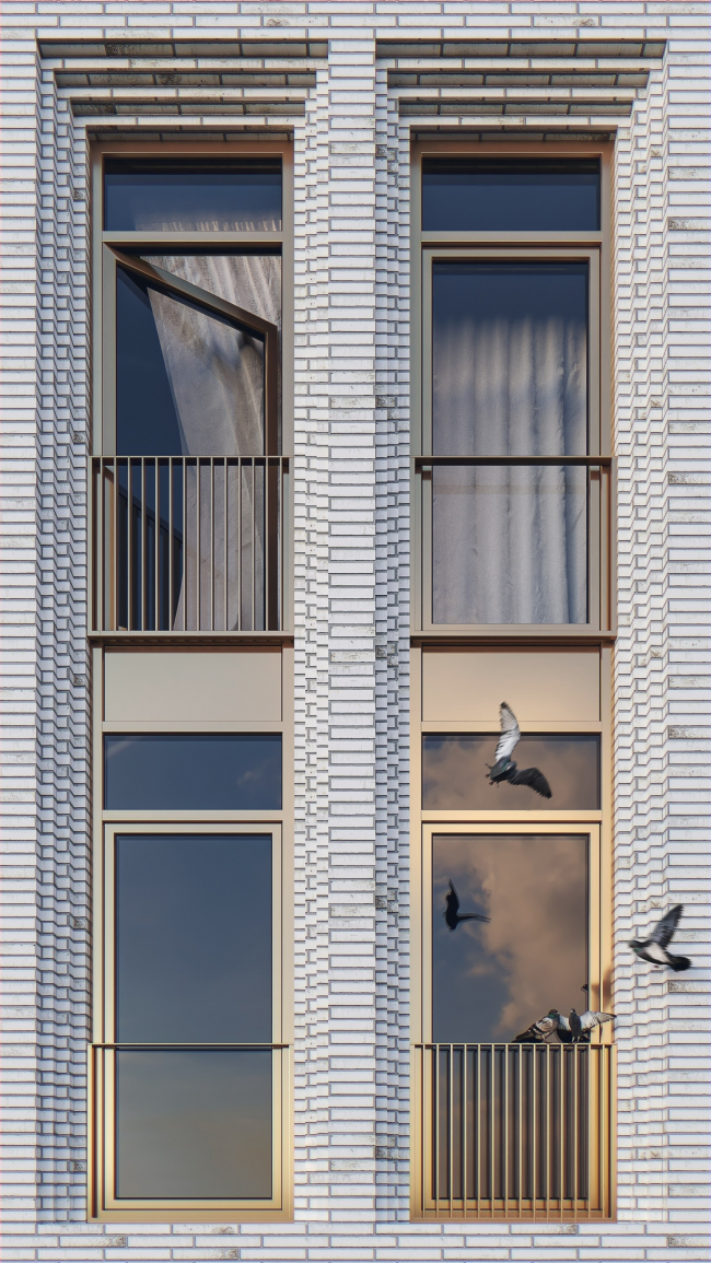 A fragment of the facade with perspective portals © APEX project bureau