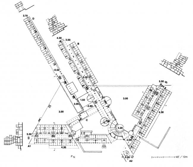 Комплекс «Монте Амиата». План нижних уровней. Изображение с сайта www.urbanistica.unipr.it