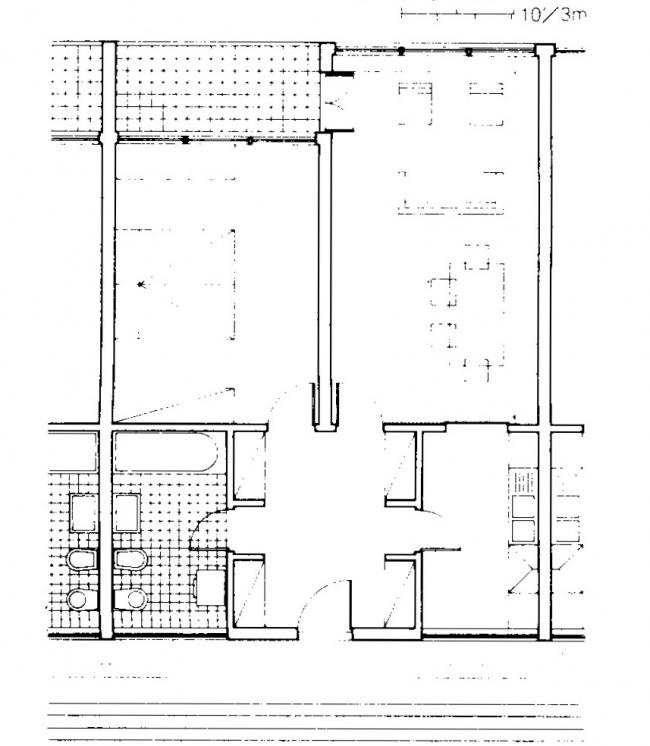Комплекс «Монте Амиата». План квартиры в корпусе Альдо Росси. Изображение с сайта www.urbanistica.unipr.it