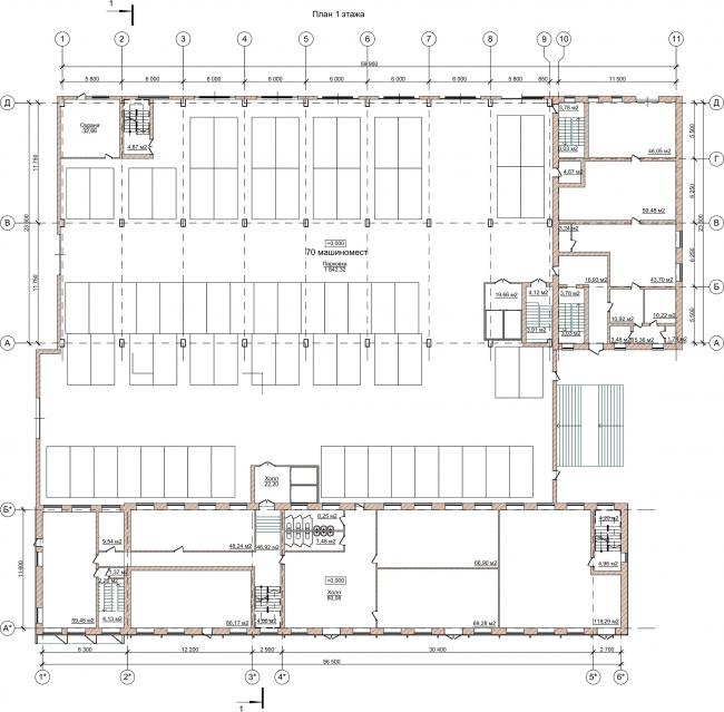 Административно-офисное здание на Пошехонском шоссе. План 1 этажа © АртСити