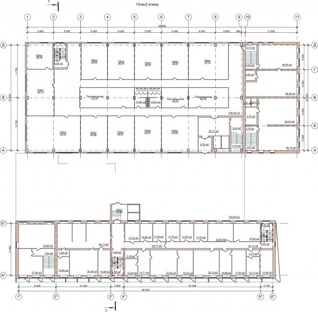 Административно-офисное здание на Пошехонском шоссе. План 2 этажа © АртСити
