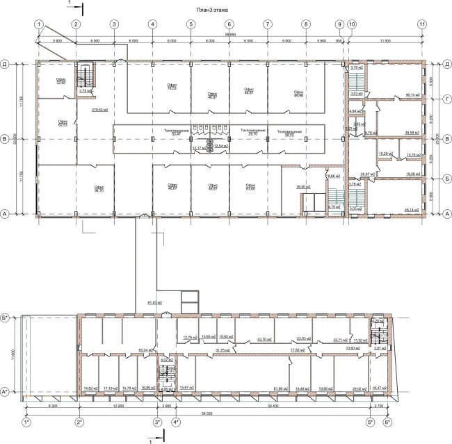 Административно-офисное здание на Пошехонском шоссе. План 3 этажа © АртСити