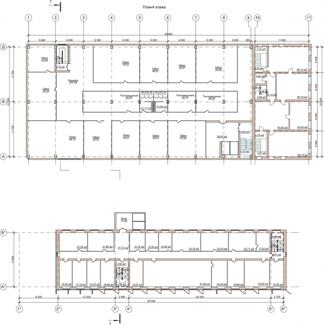 Административно-офисное здание на Пошехонском шоссе. План 4 этажа © АртСити