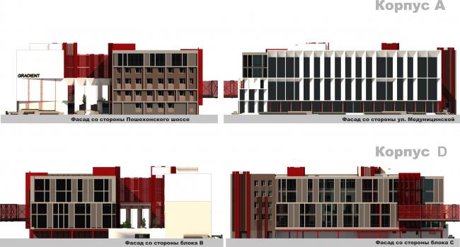 Административно-офисное здание на Пошехонском шоссе. Фасады А-D © АртСити