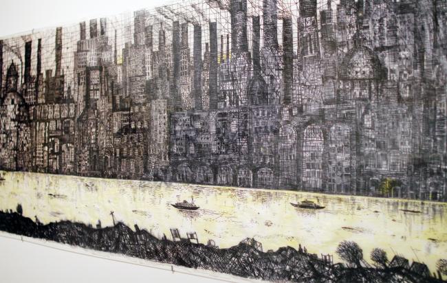 Рисунок Александра Бродского, исполненный специально для выставки, 2018. Выставка «Гипноз пространства», Царицыно. Фотография: Ю.Тарабарина, Архи.ру