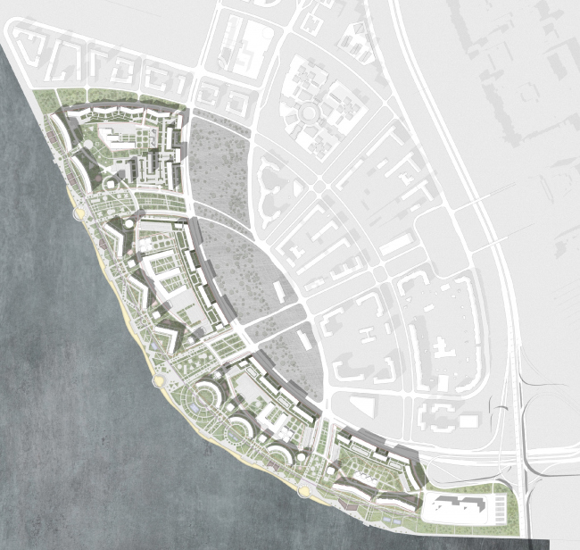 The concept for building on the alluvial lands in the west prt of the Vasilyevsky Island © Studio 44