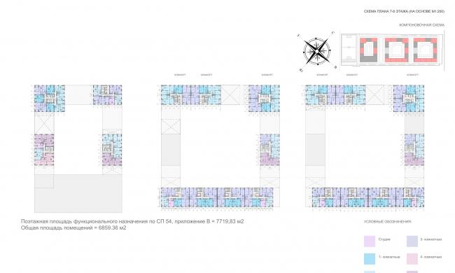 Жилой комплекс «ТЫ И Я». План 7-8 этажей © ОЛИМПРОЕКТ