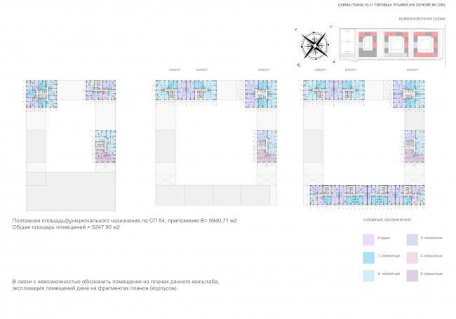 Жилой комплекс «ТЫ И Я». План 10-11 этажей © ОЛИМПРОЕКТ