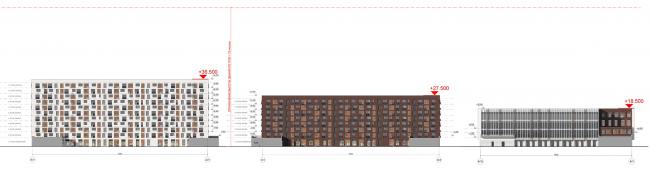 Жилой комплекс «ТЫ И Я». Схема фасада С в осях © ОЛИМПРОЕКТ
