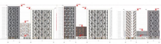 Жилой комплекс «ТЫ И Я». Схема фасада B в осях © ОЛИМПРОЕКТ