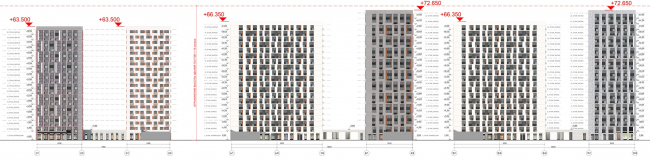 Жилой комплекс «ТЫ И Я». Схема фасада D в осях © ОЛИМПРОЕКТ