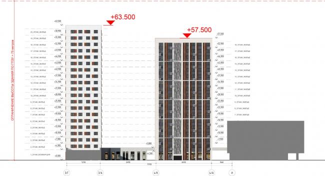 Жилой комплекс «ТЫ И Я». Схема фасада H в осях © ОЛИМПРОЕКТ