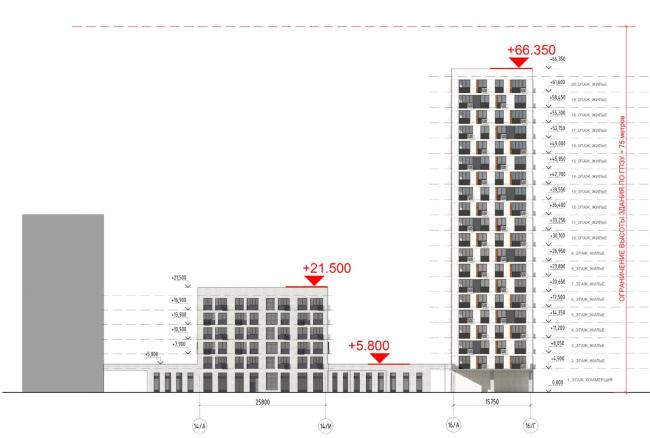 Жилой комплекс «ТЫ И Я». Схема фасада R  в осях © ОЛИМПРОЕКТ