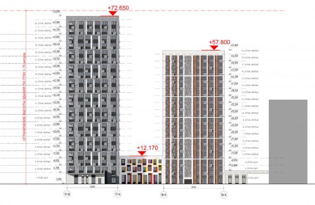 Жилой комплекс «ТЫ И Я». Схема фасада S  в осях © ОЛИМПРОЕКТ